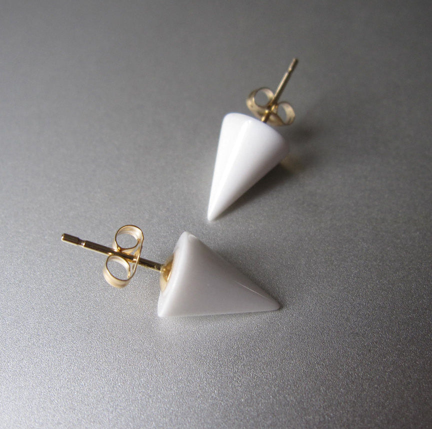 White Agate Spike Solid 14k Gold Post Earrings