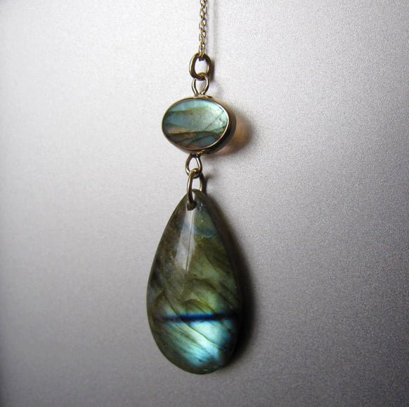 Labradorite Double Drop Solid 14k Gold Necklace