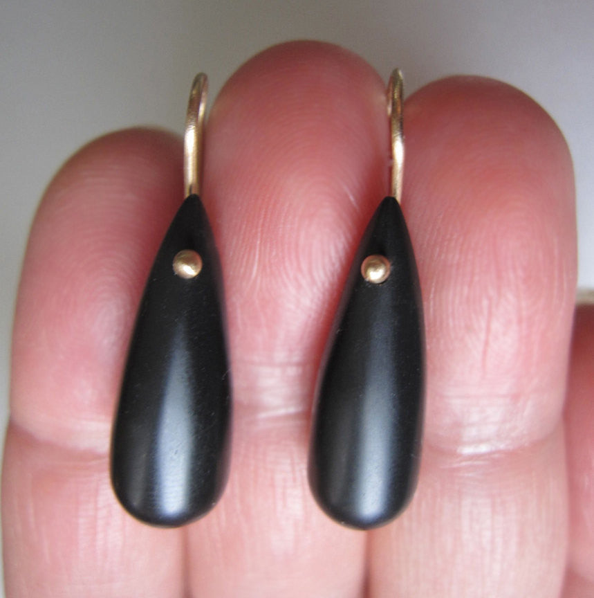 Frosted Black Onyx Drops Solid 14k Gold Earrings