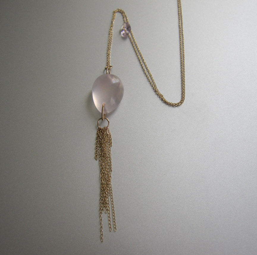 Rose Quartz and Amethyst Solid 14k Gold Tassel Necklace