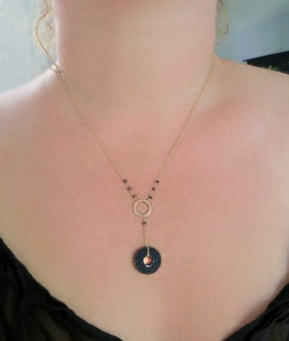 black agate drusy and spinel solid 14k gold necklace5