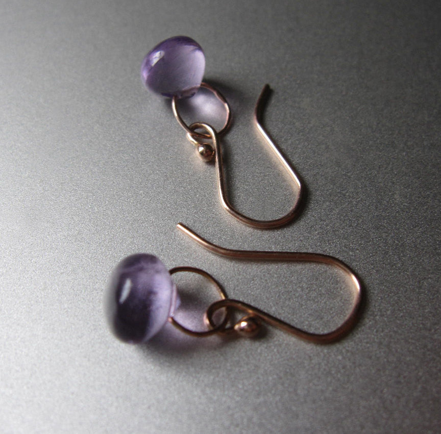 smooth amethyst drops solid 14k rose gold earrings3