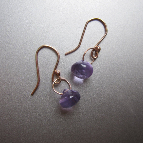 smooth amethyst drops solid 14k rose gold earrings
