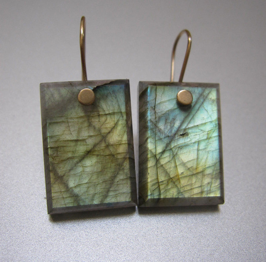 Labradorite Rectangles Solid 14k Gold Earrings