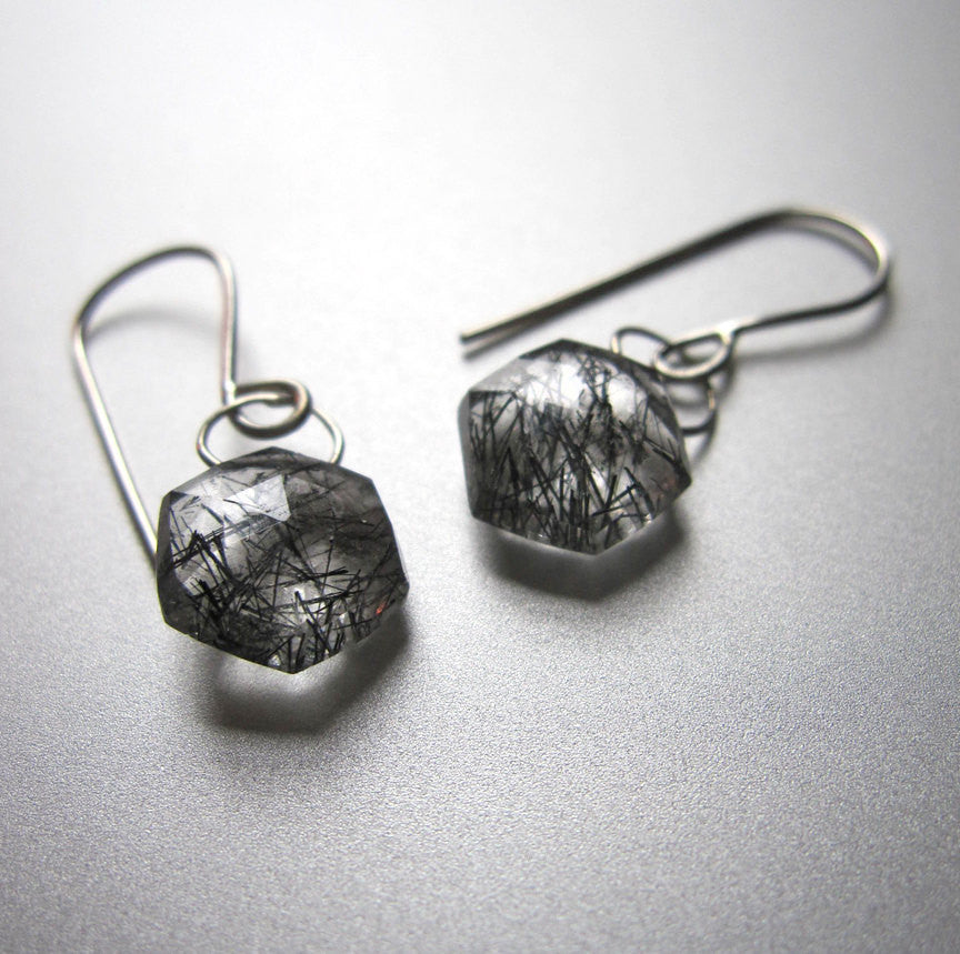 rutilated quartz hexagonal drops solid 14k white gold earrings