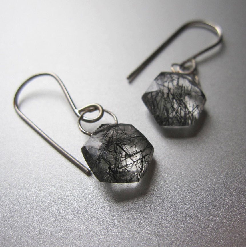 rutilated quartz hexagonal drops solid 14k white gold earrings2