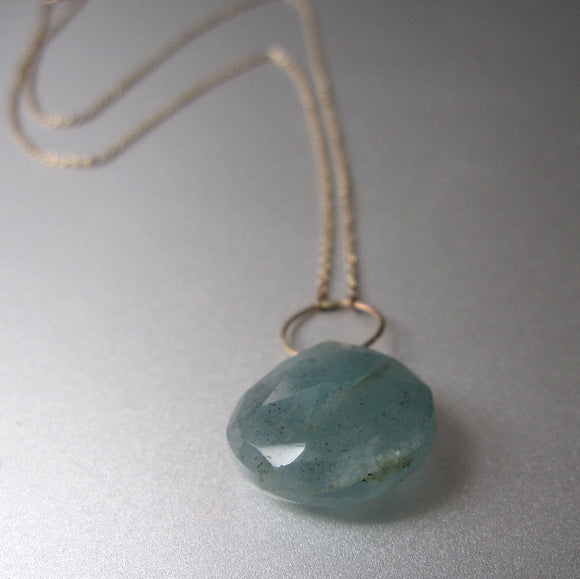 Moss Aquamarine Drop Solid 14k Gold Necklace