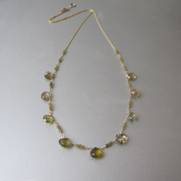Natural Green Diamond and Sapphire Solid 14k Gold Necklace