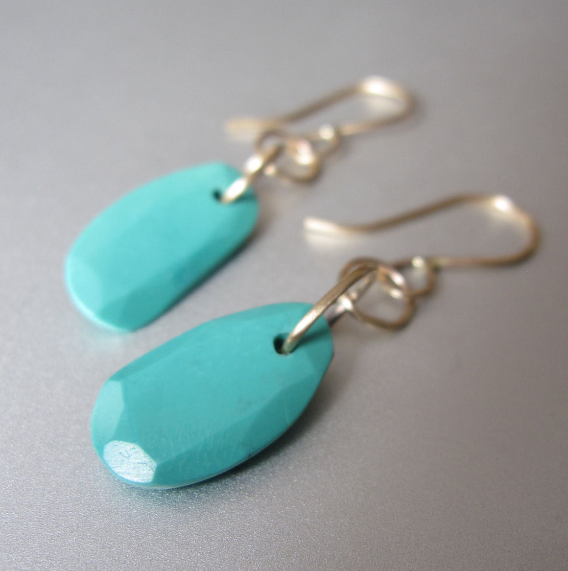 Turquoise Slice Solid 14k Gold Link Earrings