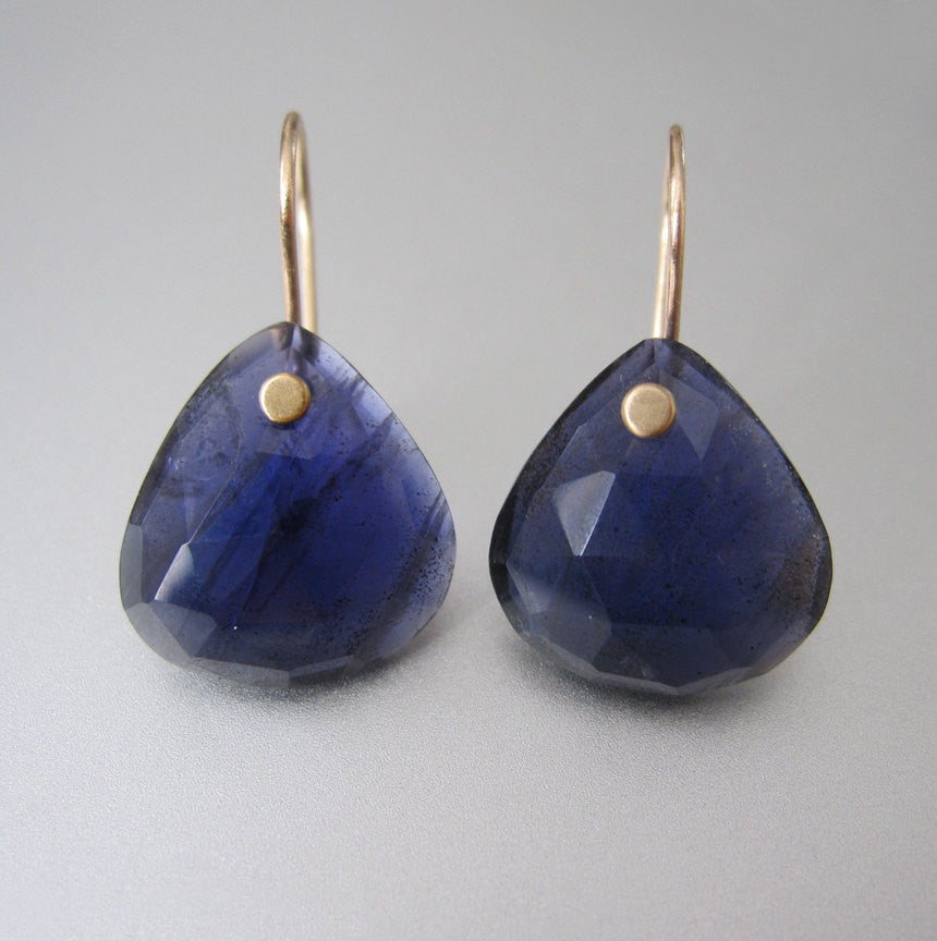 Rose Cut Iolite Drops Solid 14k Gold Earrings