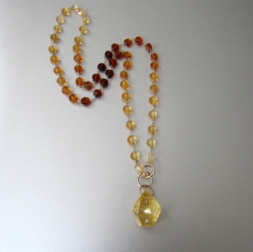 Ombre Hessonite Garnet and Citrine Solid 14k Gold Necklace