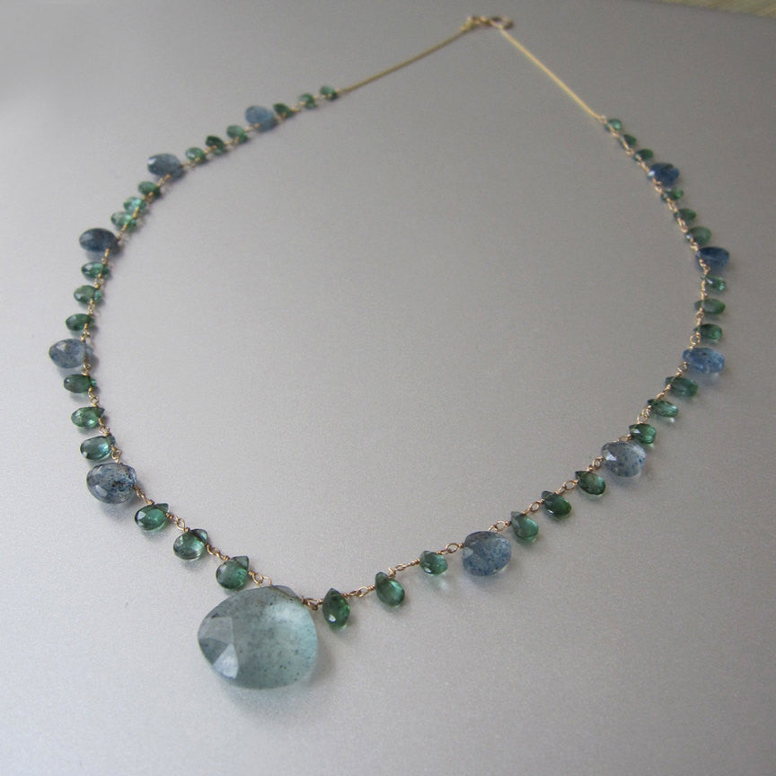 Moss Aquamarine and Green Tourmaline Solid 14k Gold Necklace