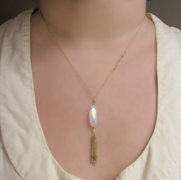 Rainbow Moonstone Natural Green Diamond Solid 14k Gold Tassel Necklace