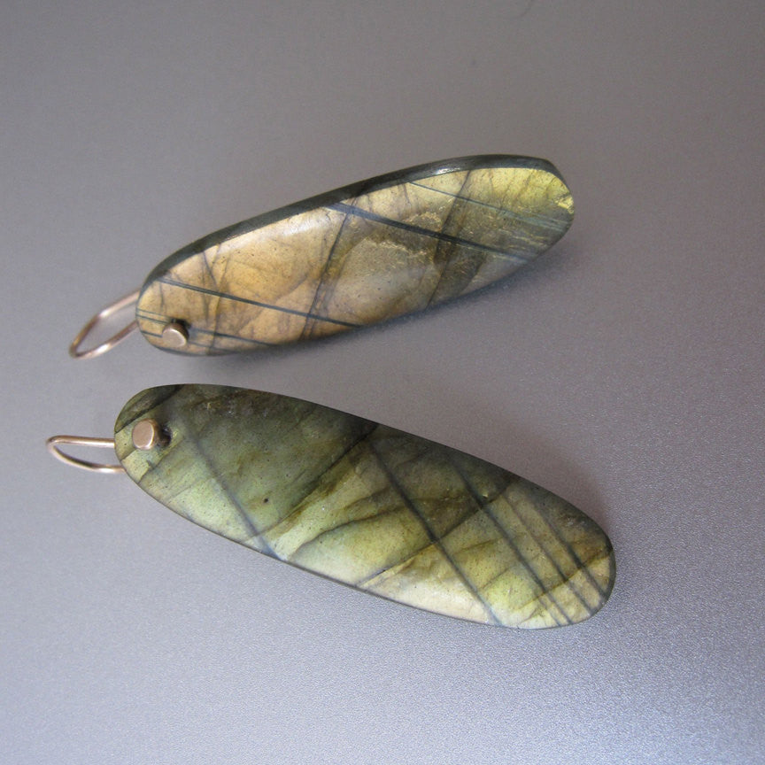 Golden Green Labradorite Long Drops Solid 14k Gold Earrings