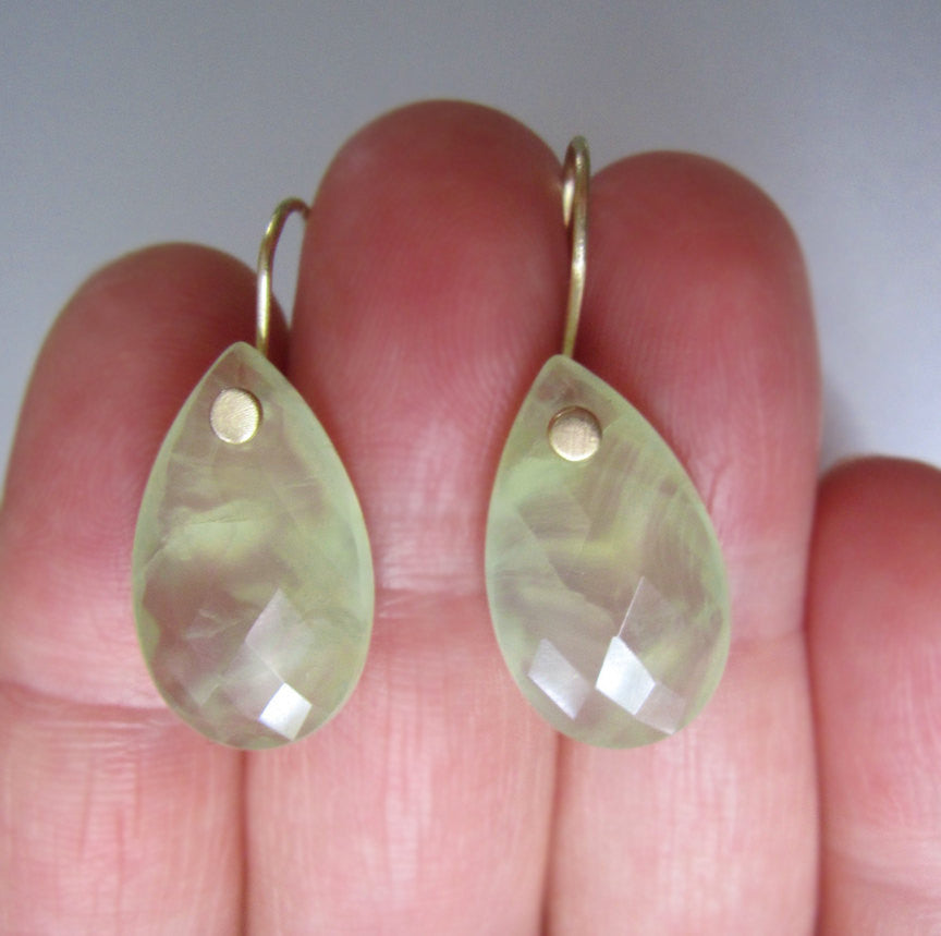 Large Prehnite Drops Solid 14k Gold Earrings