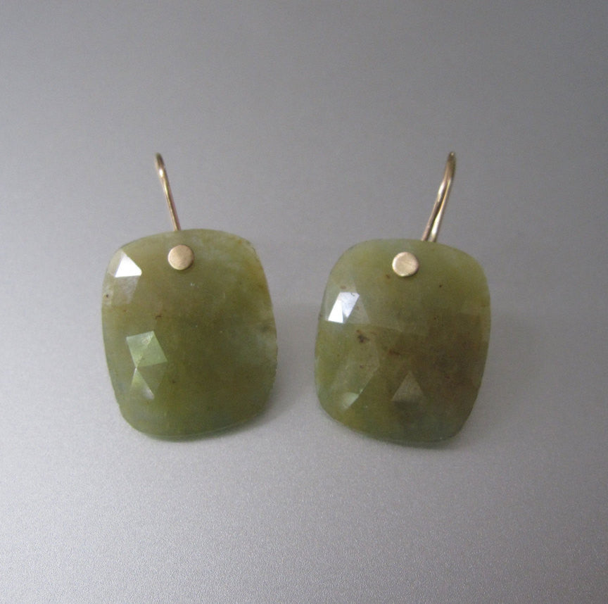 Green Sapphire Rose Cut Drops Solid 14k Gold Earrings
