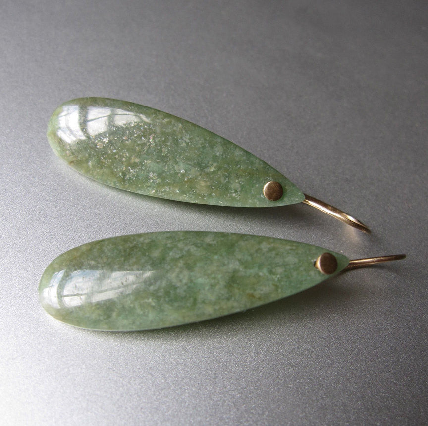 Green Amazonite Drops Solid 14k Gold Earrings
