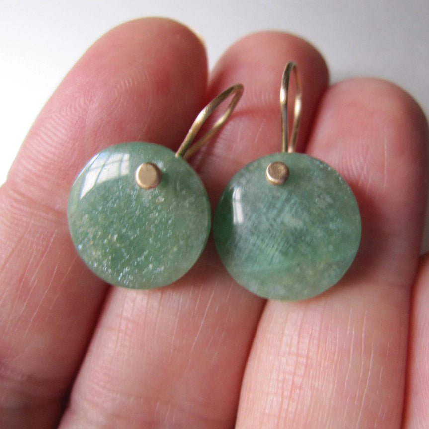 Green Amazonite Discs Solid 14k Gold Earrings