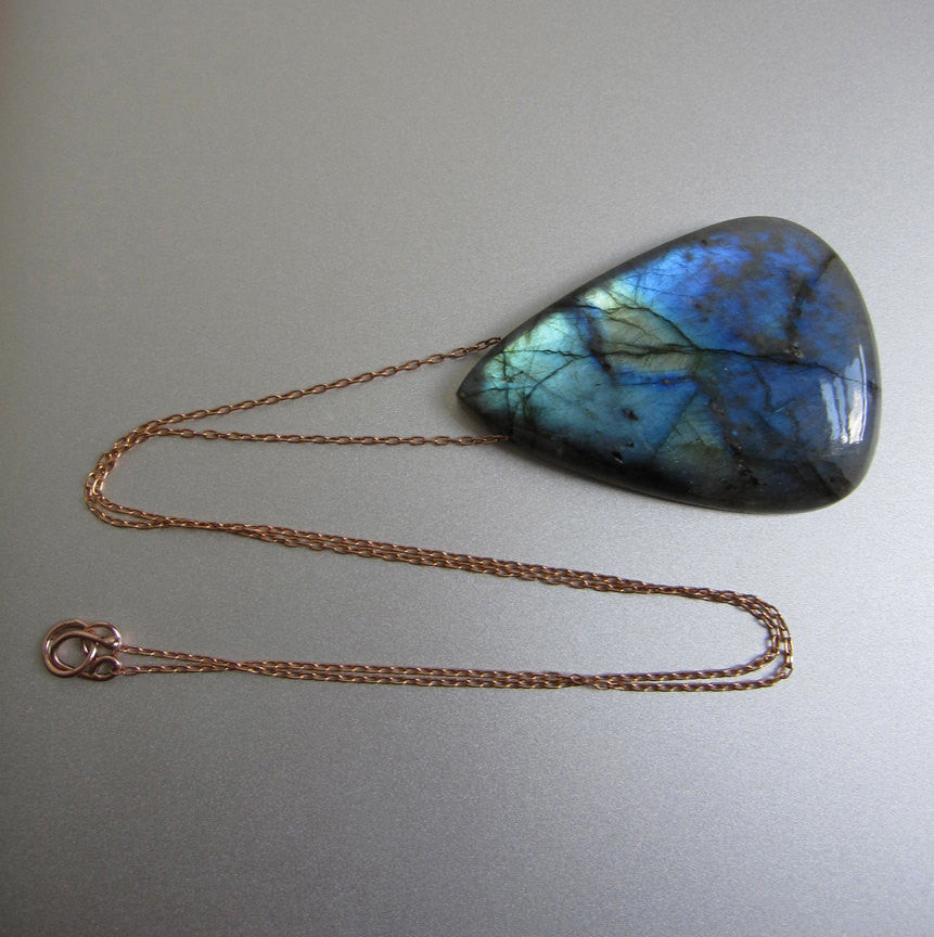 Labradorite Large Drop Solid 14k Rose Gold Necklace