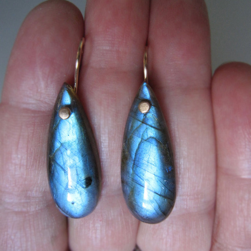 Long Blue Labradorite Drops Solid 14k Gold Earrings