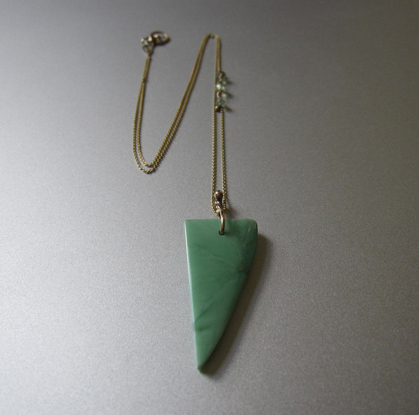 Green Variscite Shark Tooth and Chrysoberyl Solid 14k Gold Necklace