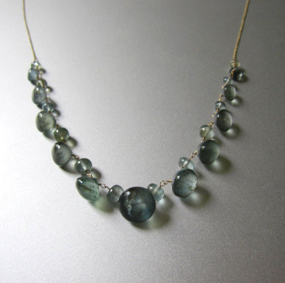 Moss Aquamarine  Solid 14k Gold Necklace