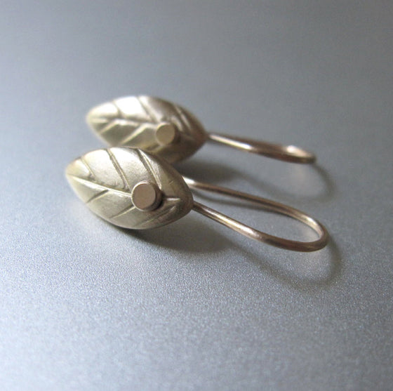 Leaf Drops Solid 14k Gold Earrings