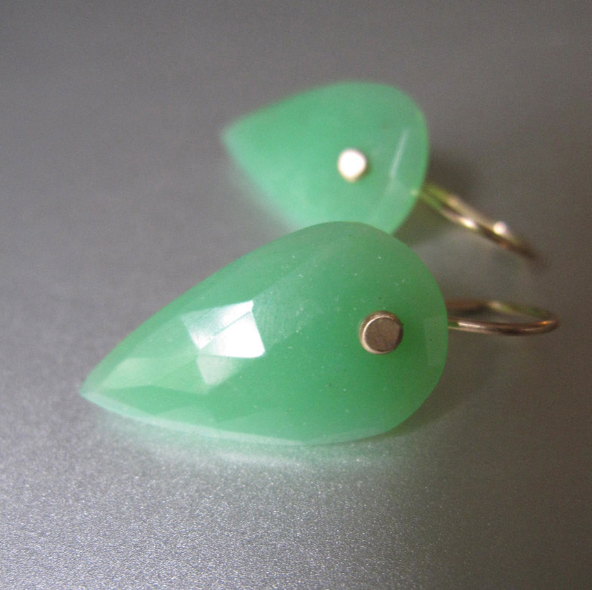 Inverted Rose Cut Chrysoprase Drops Solid 14k Gold Earrings