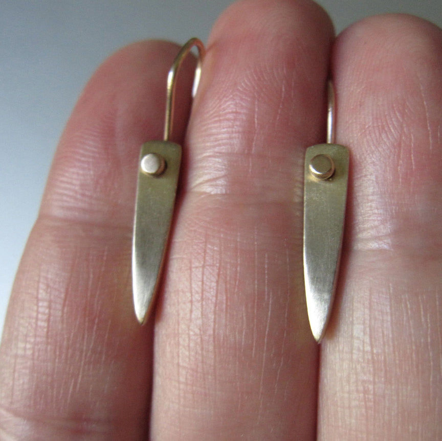 Solid 14k Gold Spear Earrings