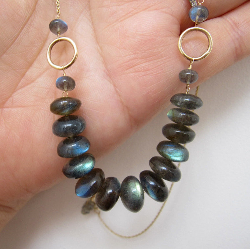 Labradorite Solid 14k Gold Necklace
