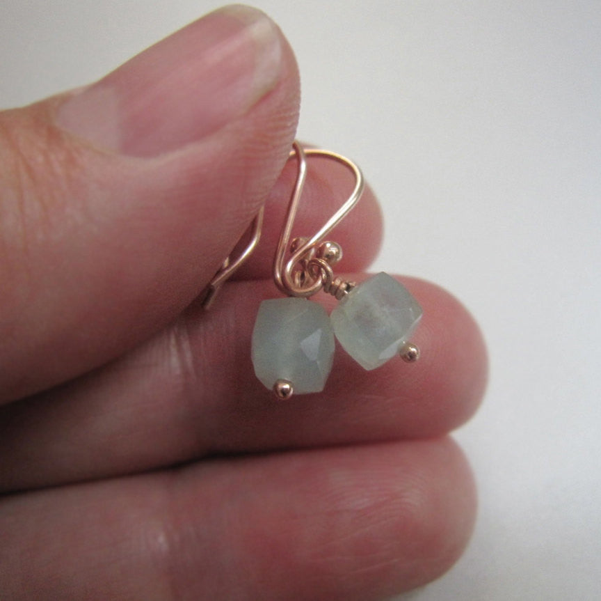 small aquamarine cube drops solid 14k rose gold earrings5