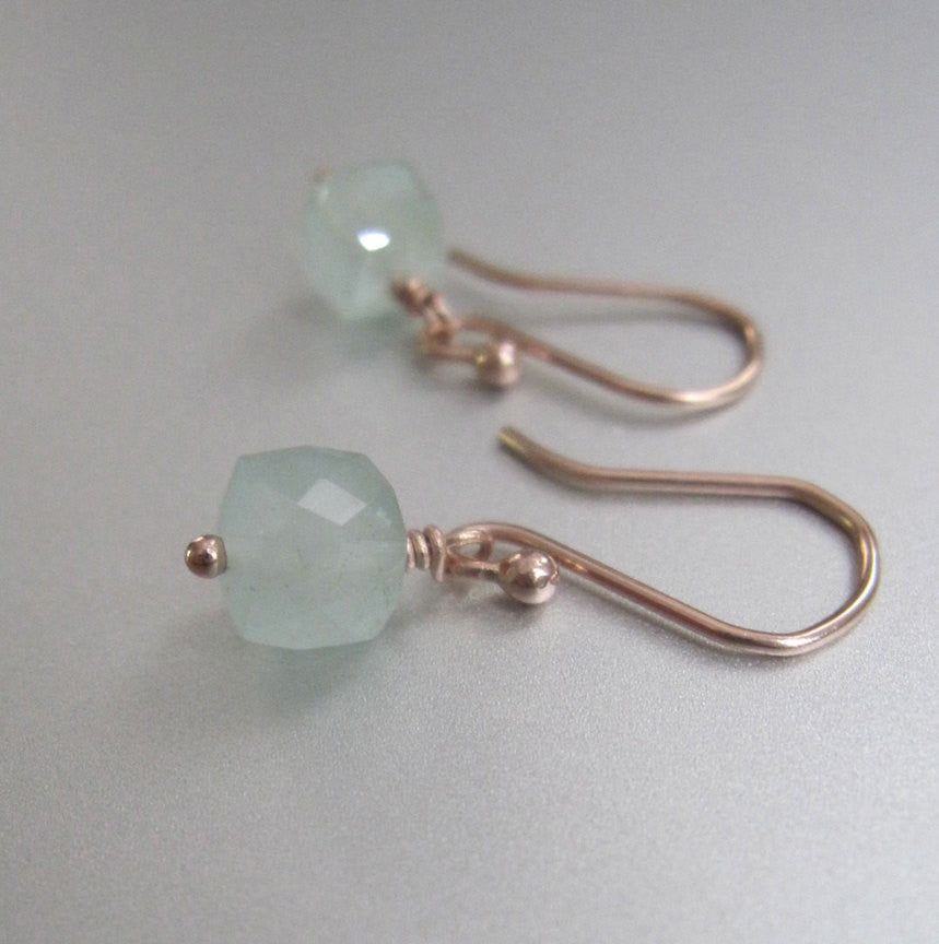 small aquamarine cube drops solid 14k rose gold earrings