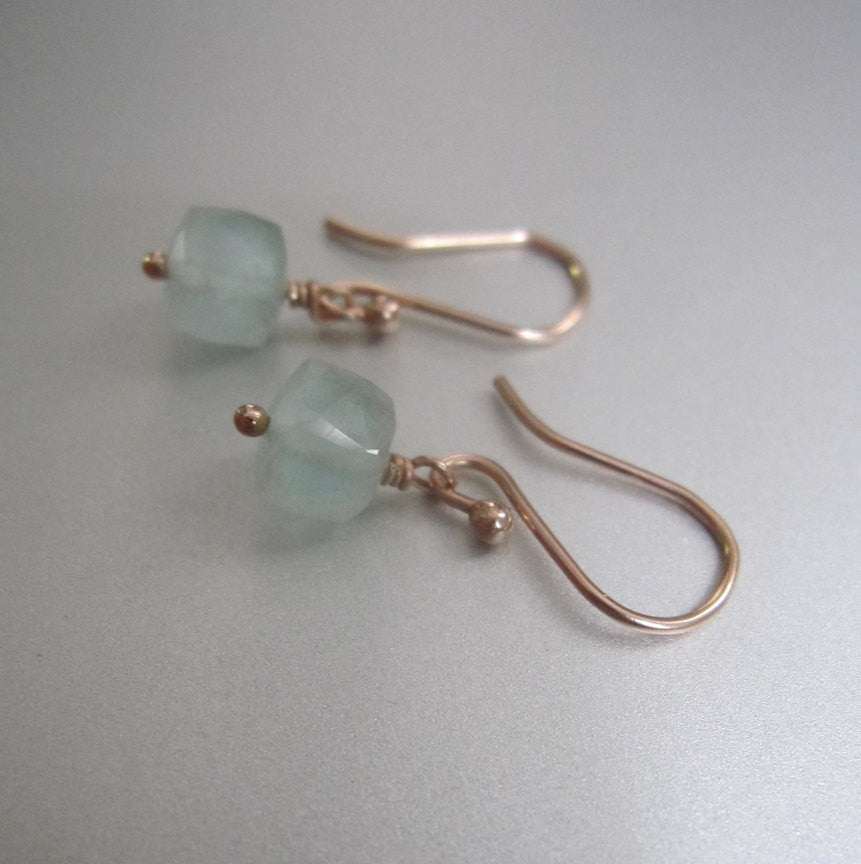 small aquamarine cube drops solid 14k rose gold earrings2