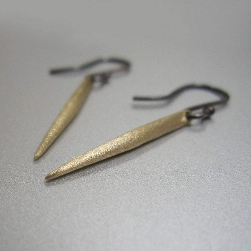 Solid Sanded 14k Gold Spike Earrings Antiqued Sterling Earwires