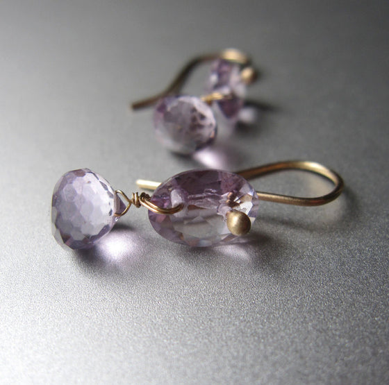 amethyst double drop solid 14k gold earrings