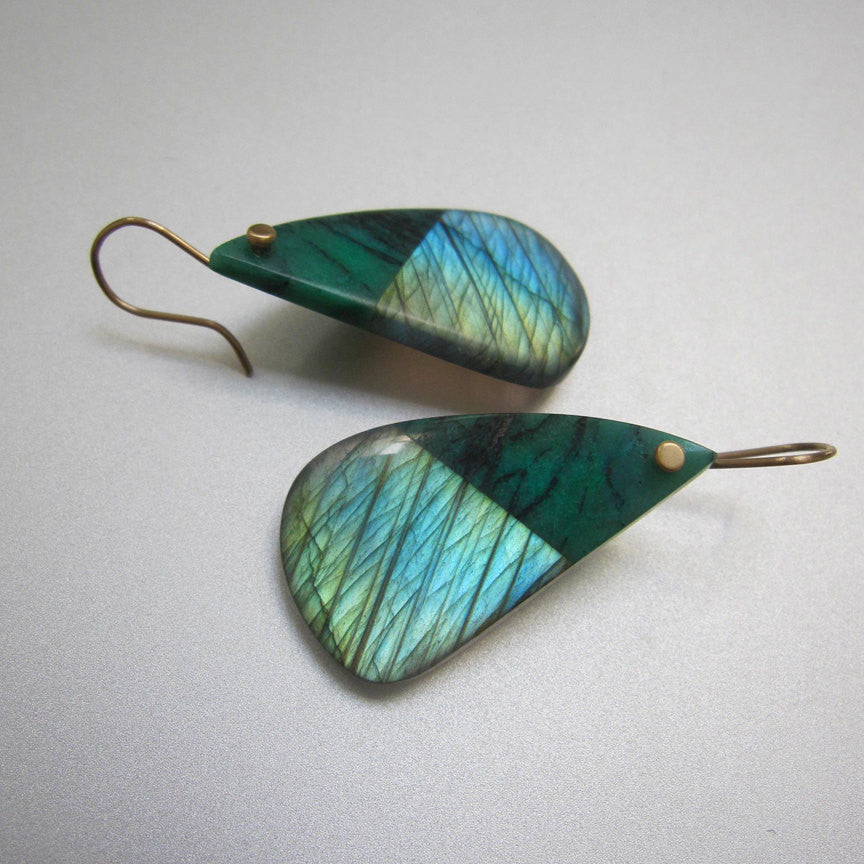 Large Labradorite  and Chrysocolla Drops Solid 14k Gold Earrings