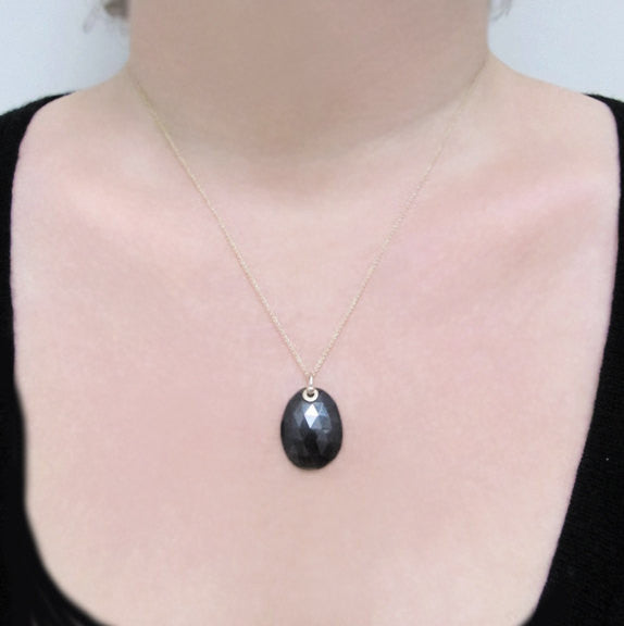 Rose Cut Black Spinel Solid 14k Gold Necklace