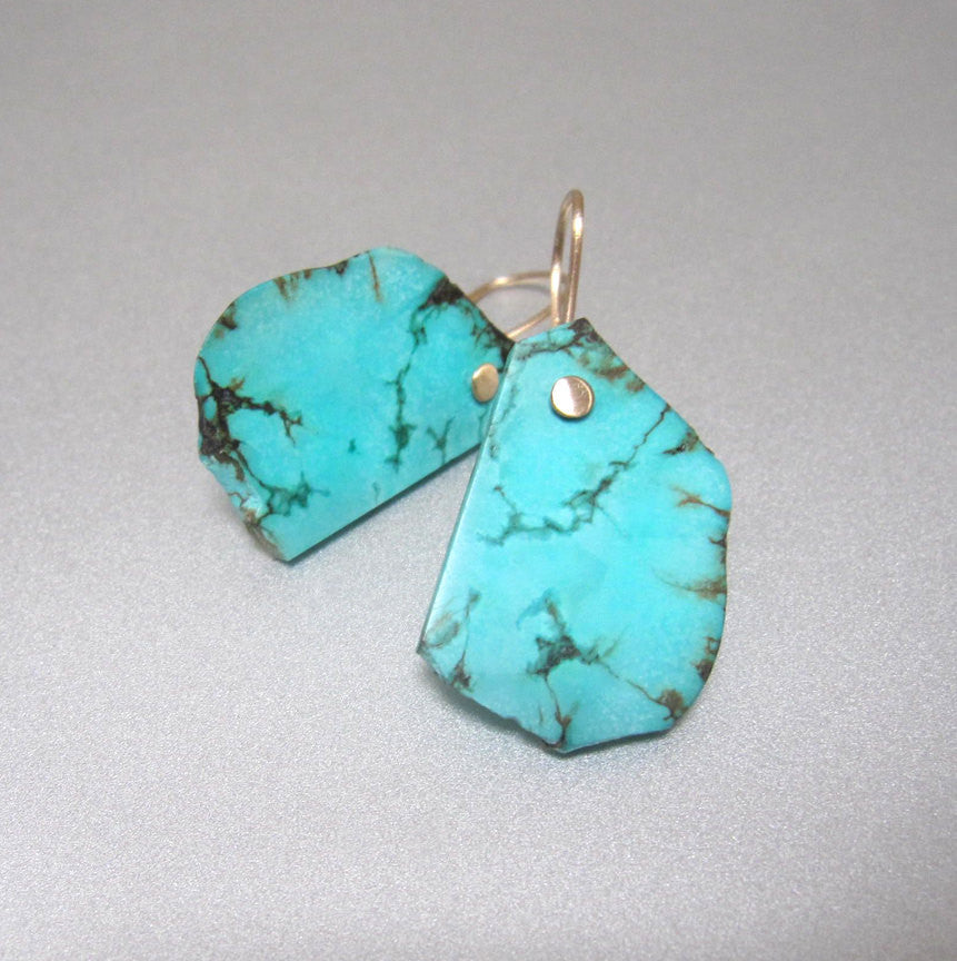 Raw blue turquoise slice drops solid 14k gold earrings4