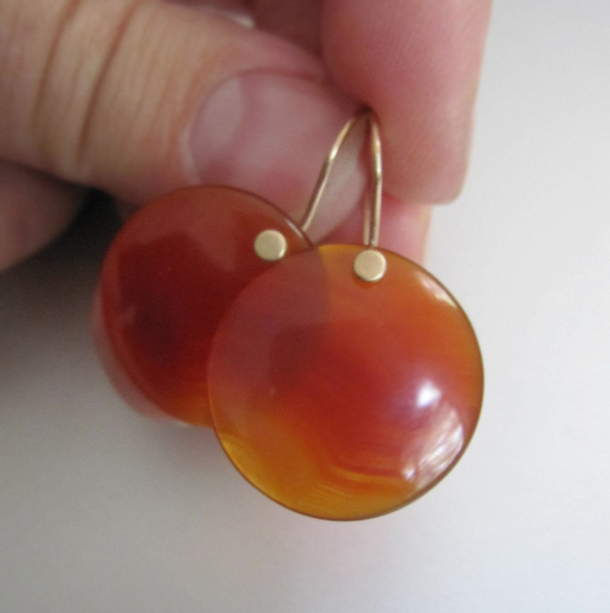 red onyx disc drops solid 14k gold earrings5