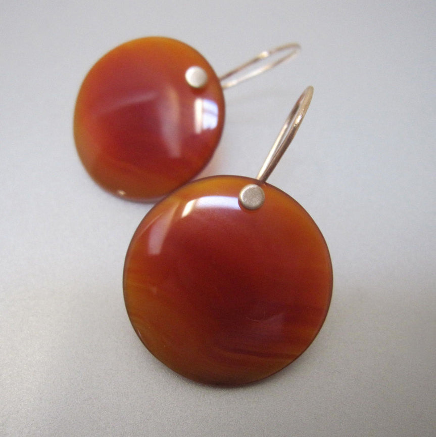 red onyx disc drops solid 14k gold earrings3