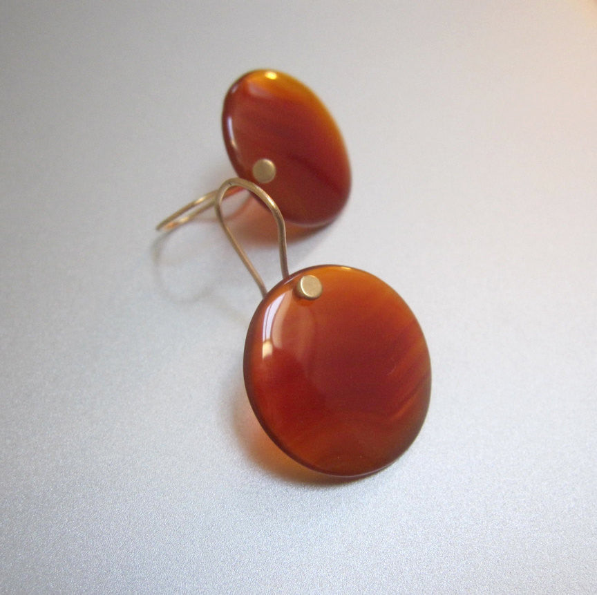red onyx disc drops solid 14k gold earrings4