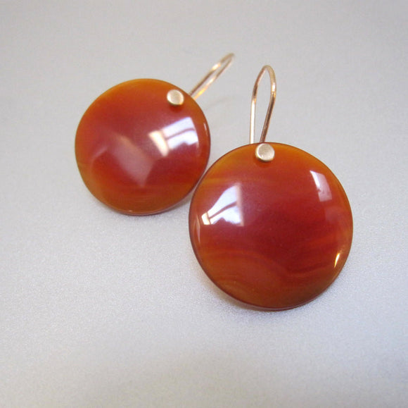 red onyx disc drops solid 14k gold earrings