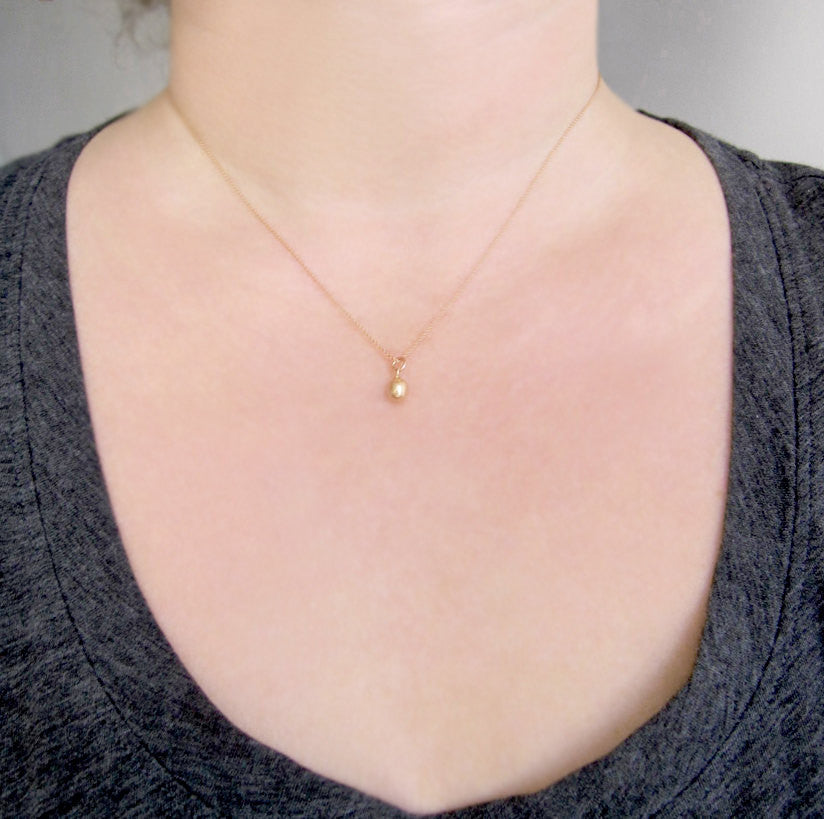 Solid Gold Necklace 14k Gold Drop on Chain Necklace Choice of Yellow Gold Green Gold Rose Gold White Gold