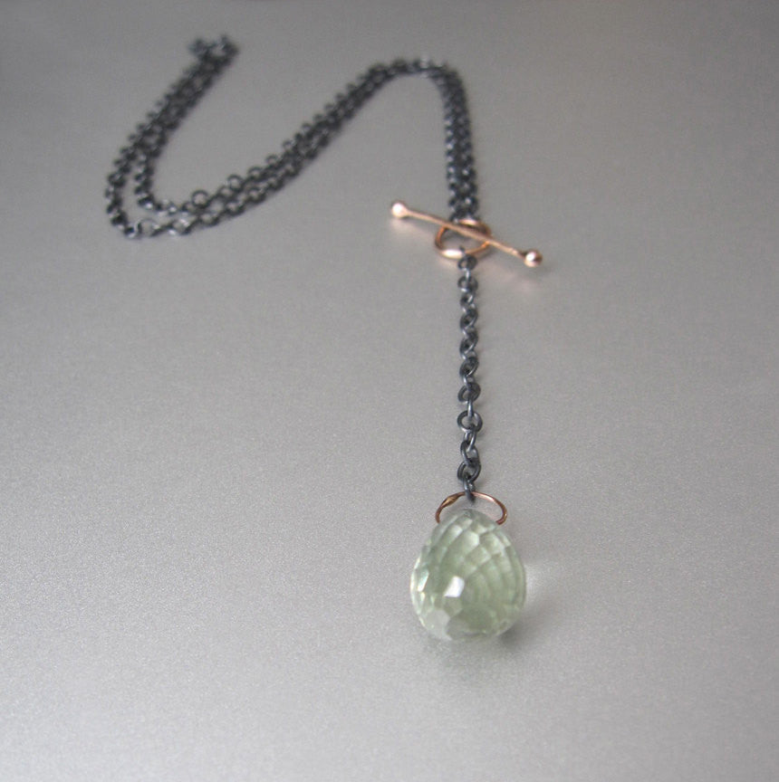 Green Quartz Drop Solid 14k Rose Gold and Sterling Silver Toggle Necklace