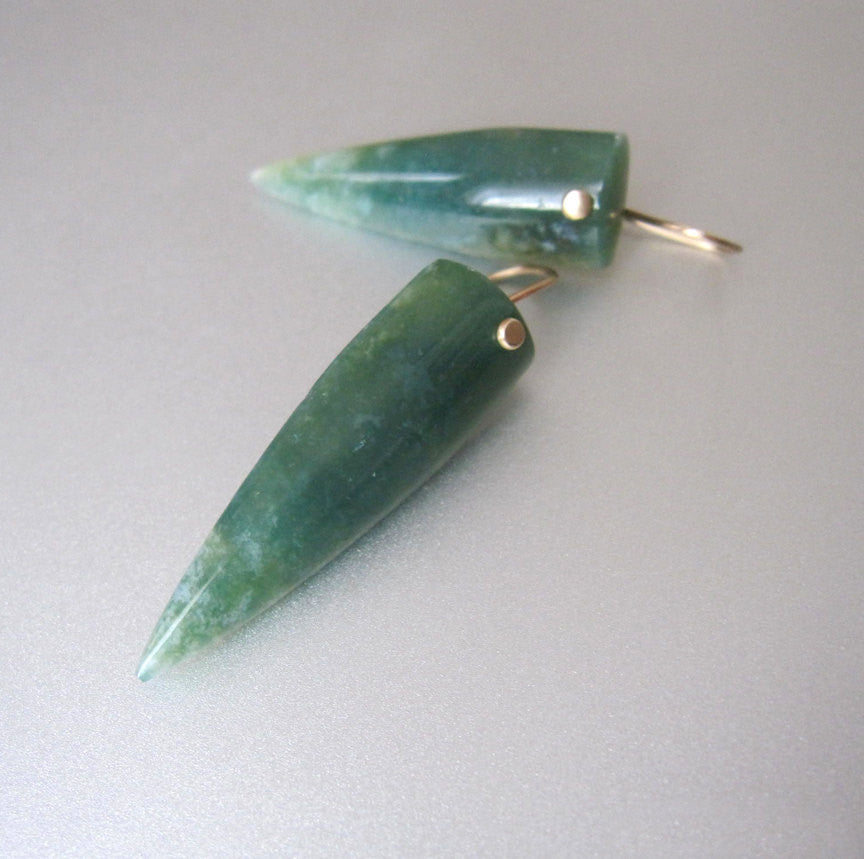 Long Pointed Moss Agate Drops Solid 14k Gold Earrings