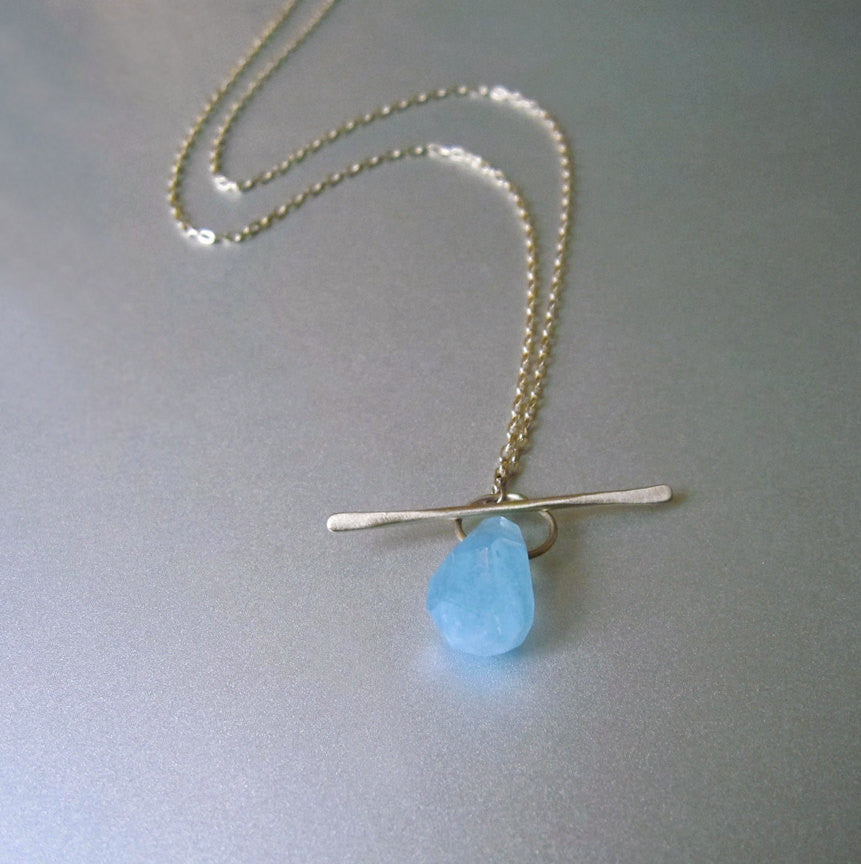 aquamarine drop solid 14k gold lariat toggle necklace2