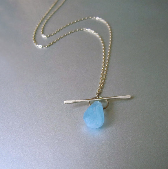 aquamarine drop solid 14k gold lariat toggle necklace
