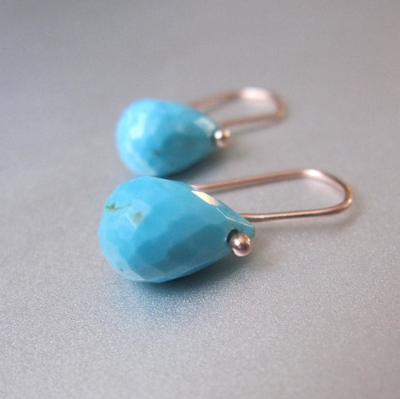 Sleeping Beauty Turquoise Faceted Drops Solid 14k Rose Gold Earrings