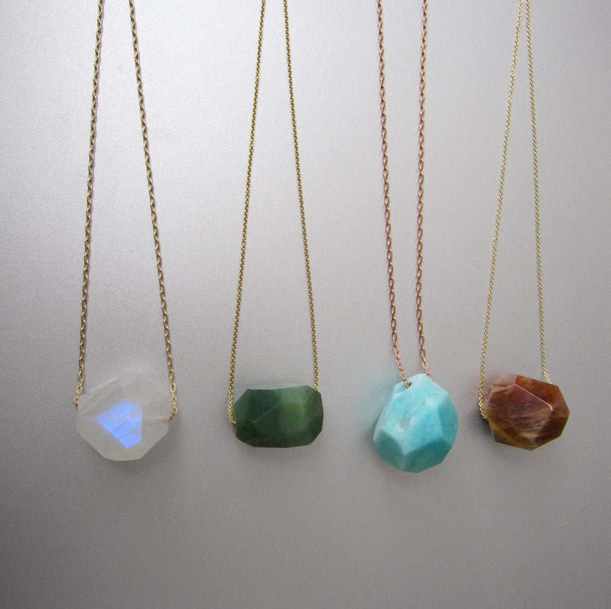 Solitaire Faceted Nugget Choose Your Stone Solid 14k Gold Necklace