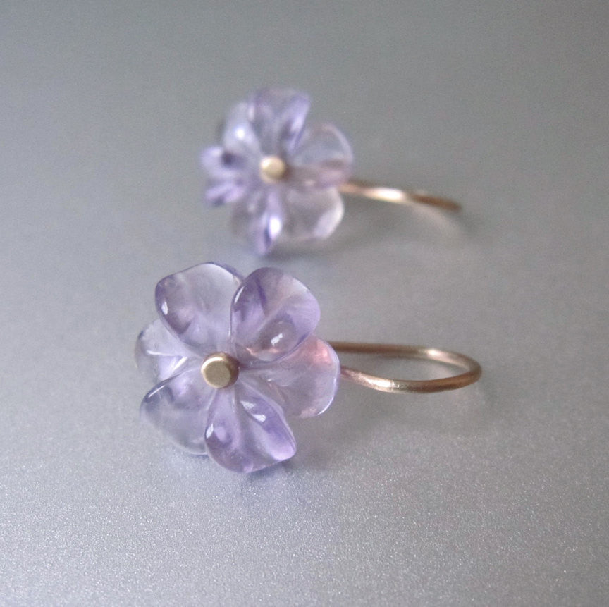 amethyst flower drops solid 14k gold earrings2
